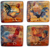 Certified International Rustic Rooster Set of 4 Canape Plates