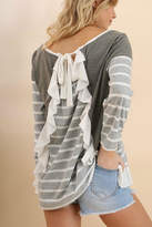 Umgee USA Ruffled Stripped Top