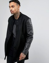 Religion Jacket With Leather Sleeves