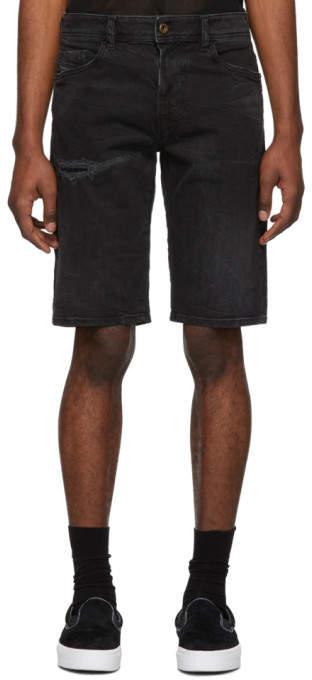Diesel Black Denim Crinkled Thorshort Shorts
