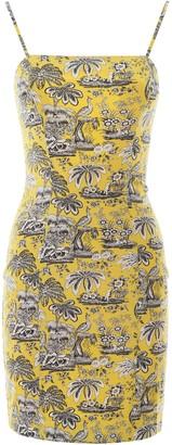 STAUD Toile Printed Fitted Mini Dress