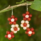 Handmade Pearl and Carnelian Flower Earrings, 'Bright Bouquet'
