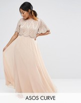 Asos Embellished Bodice Maxi with Scallop Sleeve