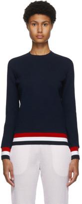 Thom Browne Navy Seersucker Tricolor Trim Sweatshirt