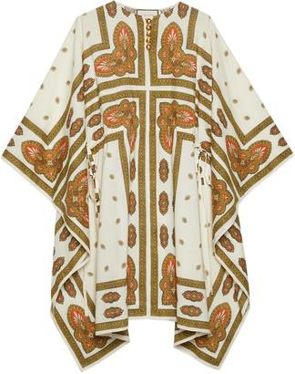 Gucci Floral print cotton short kaftan dress