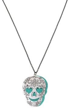Betsey Johnson Engraved Double Skull Pendant Long Necklace