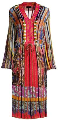 Etro Multi-Knit V-Neck Dress