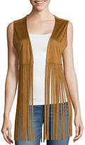 Arizona Faux-Suede Fringe Vest - Juniors