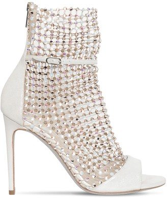 Rene Caovilla 105mm Lame Leather & Crystal Net Boots