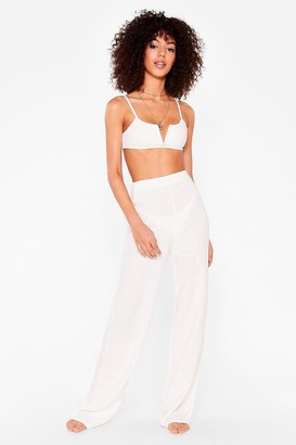 Nasty Gal Womens Beach to Their Own Cover-Up Wide-Leg Trousers - White - 8