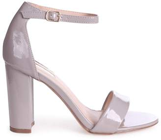 Linzi DAZE - Grey Patent Barely There Block High Heel