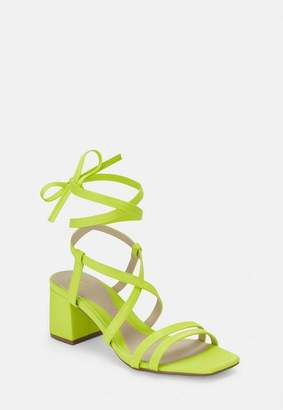 Missguided Lime Two Strap Lace Up Mid Heel Sandals