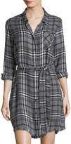 Velvet Heart Olsen Button-Front Frayed-Hem Mini Dress