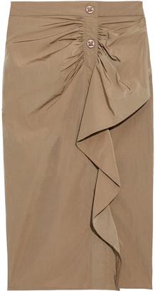 Max Mara Zeno Snap-detailed Ruffled Shell Pencil Skirt