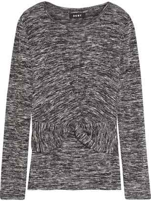DKNY Twist-front Marled Knitted Sweater