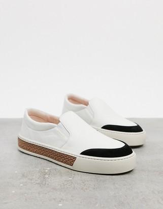Fiorelli vita leather slip-on trainers in cream