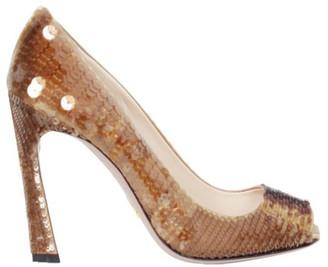 Prada Brown Sequined Peep Toe Pumps Size 36.5