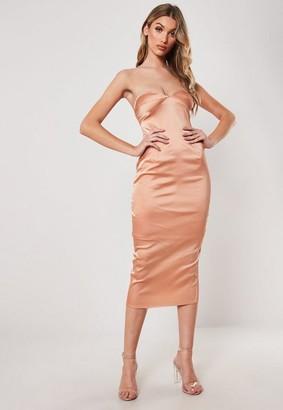 Missguided Peach Satin Bust Cup Bandeau Midi Dress