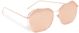 Linda Farrow Luxe Geometric Rose Mirrored Sunglasses