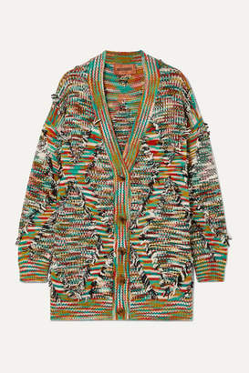 Missoni Oversized Fringed Intarsia Wool-blend Cardigan - Dark gray