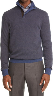 Ermenegildo Zegna Cashmere & Cotton Quarter Zip Sweater