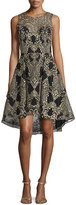 Marchesa Embroidered High-Low Cocktail Dress, Black