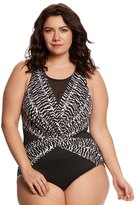 Miraclesuit Plus Size Between The Pleats Palma One Piece Swimsuit 8150934