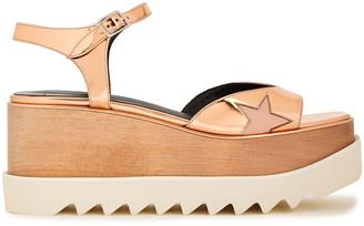 Stella McCartney Cutout Metallic Faux Glossed-leather Platform Sandals