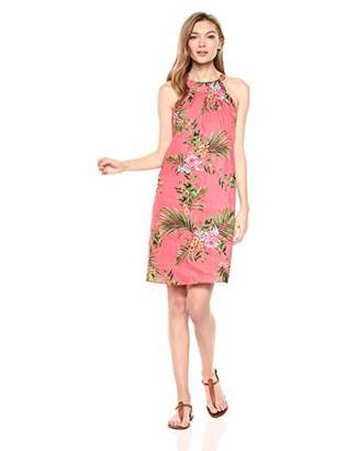 28 Palms womens 100% Linen Halter Hawaiian Print Shift Dress Solid 100% Linen Halter Hawaiian Print Shift Dress Sleeveless Casual Dress,Medium