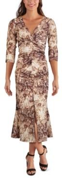 GUESS Printed Mesh Ruched Midi Dress