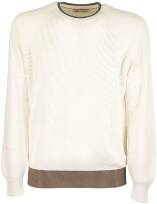 Brunello Cucinelli Crew-neck Sweater Cotton English Rib Sweater With Raglan Sleeves And Contrast Details
