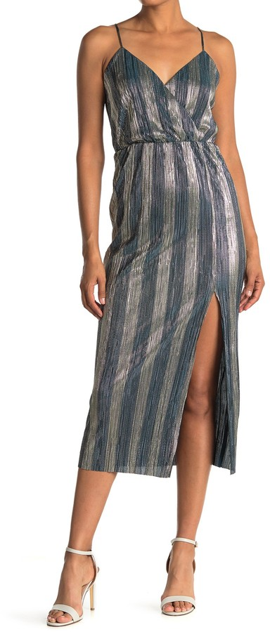 Lush Metallic Stripe Sleeveless Slit Midi Dress