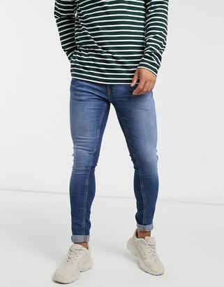 Jack and Jones Intelligence Tom super skinny jeans in mid blue