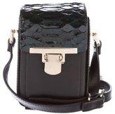Lanvin Python-Trimmed Leather Crossbody Bag