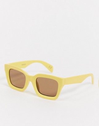 ASOS DESIGN square sunglasses with angled detail in yellow