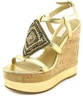 Lauren Ralph Lauren Mattie Women US 8 Gold Wedge Sandal