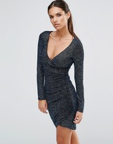 Lipsy Multi Glitter Wrap Dress