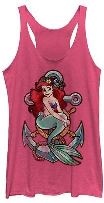 Fifth Sun Women's Tank Tops PINK - The Little Mermaid Pink Heather Ariel Anchor Racerback Tank - Women & Juniors