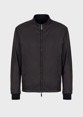 Giorgio Armani Reversible Bomber Jacket In Nappa Leather And Fabric