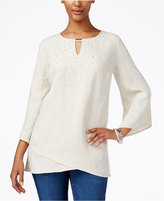JM Collection Linen Studded Tunic, Only at Macy's