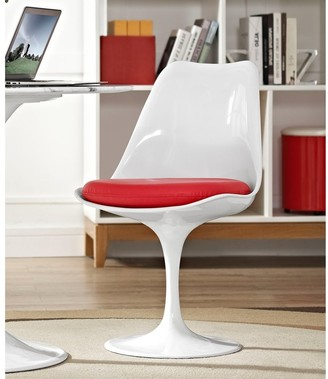Bsd National Supplies Venice Tulip Style Swivel Dining Chair with Red Vinyl Cushioned Seat