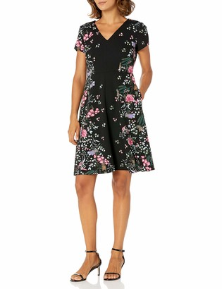 Adrianna Papell Women's Petite Printed Crepe Scuba Fit Flar