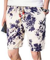 Honghu Men's Retro Loose Chinese Art Print Casual Style Shorts Size 4X-L