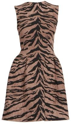 Alaia Zebra Knit Sleeveless Fit-&-Flare Dress