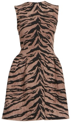 Alaia Zebra Knit Sleeveless Fit-&-Flare Dress