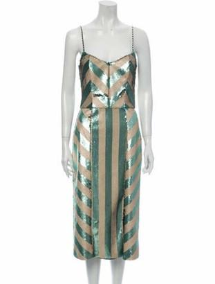 Johanna Ortiz Striped Midi Length Dress Green