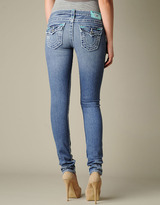 True Religion Womens Julie Natural Super T W/ Sea Blue Bartacks Jean