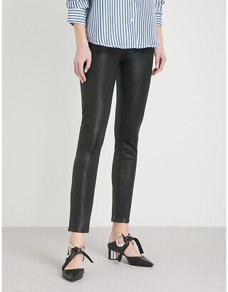 Paige Ladies Black Leather Hoxton Ankle Ultra-Skinny High-Rise Coated Stretch-Denim Jeans, Size: 23
