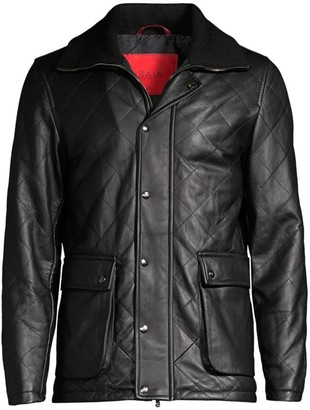 Isaia Diamond Quilted Utility Pocket Leather Coat