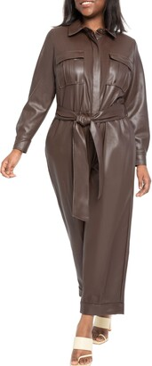 ELOQUII Belted Faux Leather Crop Jumpsuit